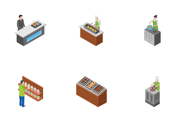 Food Court Furniture Fridges Counters With People Icon Pack