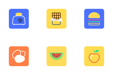 Food, Drinks, Fruits And Vegetables Icon Pack