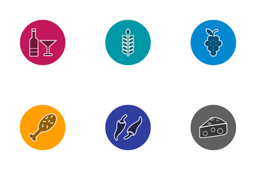 Food Glyph Circle Icon Pack