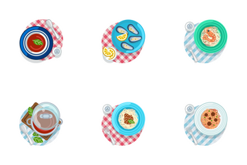 Food On Tablecloth Icon Pack