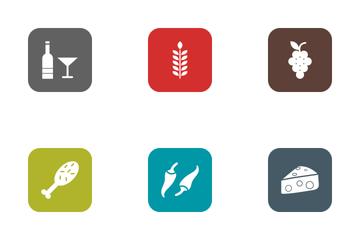 Food Round Corner Glyph Icon Pack