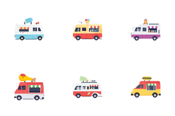 Food Vans Illustrations  Icon Pack