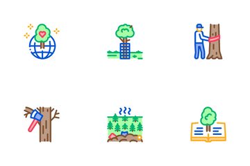Forestry Lumberjack Icon Pack