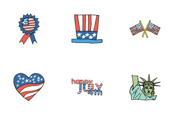 Fourth Of July Doodles Icon Pack