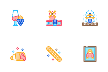France Country Travel Icon Pack