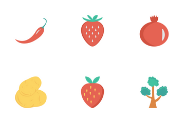 Fruits & Vegetables Flat Icon Pack