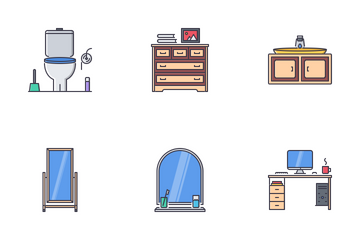 Furniture Filled Outline Icon Pack
