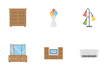 Furniture Flat Colored Icons 2 Icon Pack