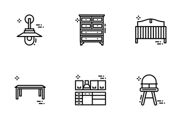 Furniture, Interior And Decoration Icon Pack