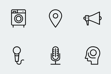 Gadgets Solid Line Icons Icon Pack