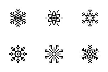 Geometric Snowflakes Line Icons 1 Icon Pack