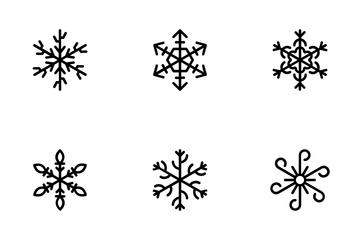 Geometric Snowflakes Line Icons 3 Icon Pack