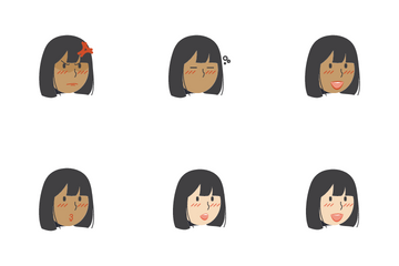 Short Hair Girls Facial Expression Icon Pack