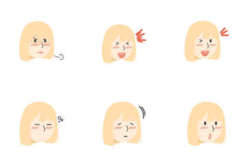 Blonde Hair Girls Facial Expression Icon Pack