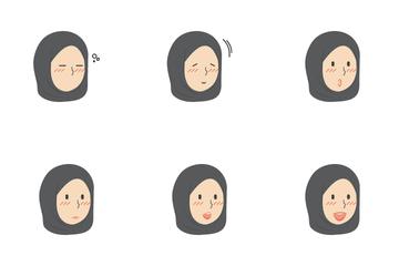 Muslim Hijab Girls Facial Expression Icon Pack