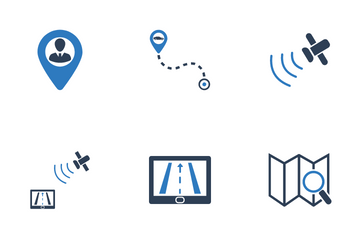 Global Positioning Map And Navigation Icon Pack