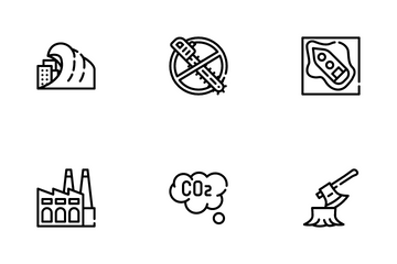 Global Warming Problem Icon Pack