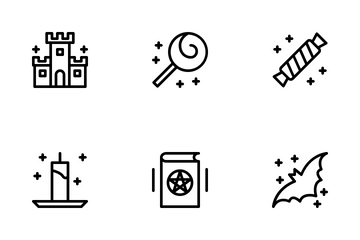 Halloween Black Outline Icon Pack