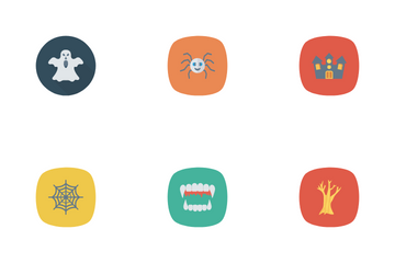 Halloween Flat Circle + Rounded Icon Pack