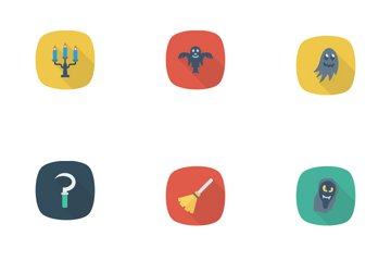 Halloween Flat Circle + Rounded + Shadow  Icon Pack
