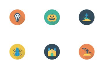 Halloween Flat Circle Shadow Icon Pack