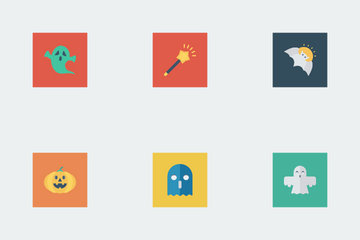 Halloween Flat Square Icon Pack
