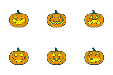Halloween Pumpkins Color Icon Pack