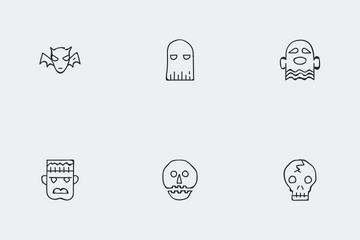 Halloween Thin Line Vol 3 Icon Pack