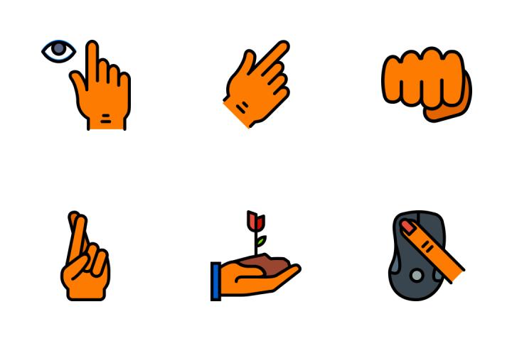 Hand Gesture 3 - Retro Icon Pack