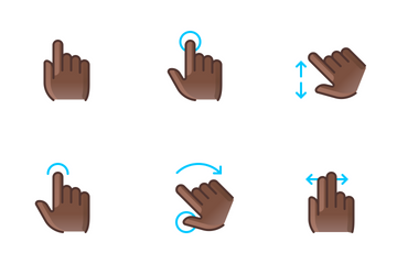 Hands & Gestures (black Man) Icon Pack