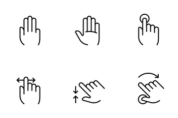 Hands & Gestures (outline) Icon Pack