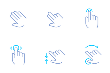 Hands & Gestures (simple Color) Icon Pack