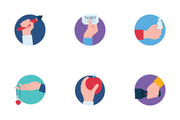 Hands Holding Flat Icon Pack
