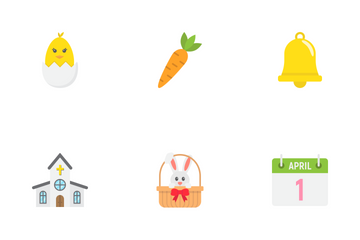 Happy Easter Flat Icons Icon Pack