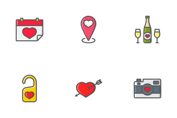 Happy Valentines Day Filled Outline Icons Icon Pack