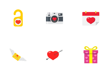Happy Valentines Day Flat Icons Icon Pack