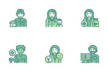Health Professionals Avatars Icon Pack