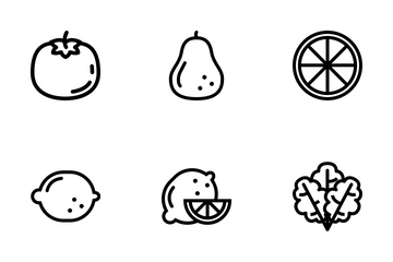 Healthy Fruit And Vegetables Icon Pack