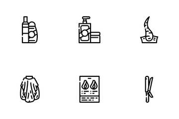 Healthy Hair Treatment Icon Pack