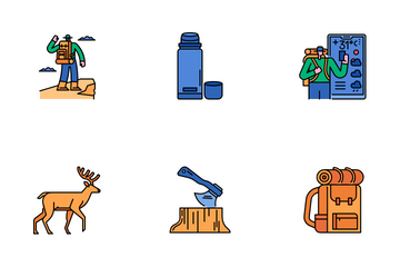 Hiking And Camping Icon Pack