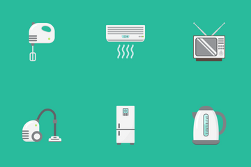 Home Appliances Flat Icons Icon Pack
