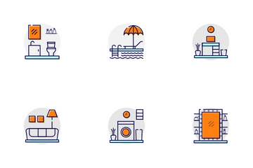 Home Interior Rooms Icon Pack