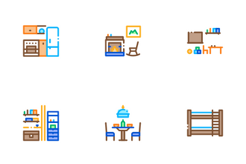 Home Rooms Furniture Icon Pack