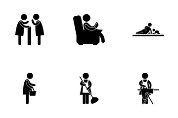Housewife Daily Routine Icon Pack