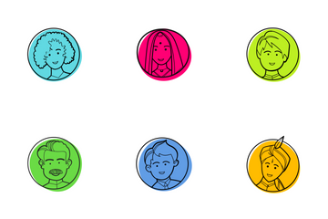 Indian Wedding Characters Color Icon Pack