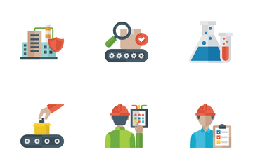 Industrial And Manufacturing Flat Icons Icon Pack