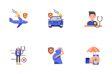 Insurance Flat - Unexpected Situations Icon Pack