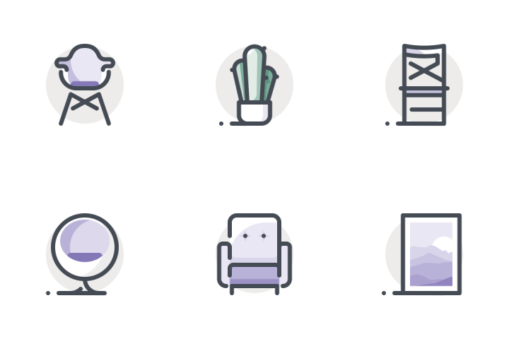 Download Interior & Furniture Icon pack - Available in SVG, PNG, EPS, AI & Icon fonts