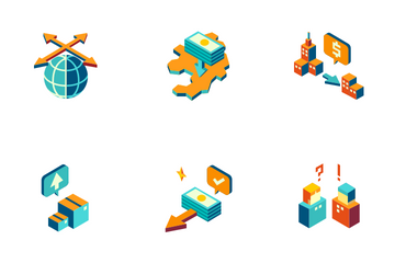 International Management Isometric - Free Trade Globalization Icon Pack
