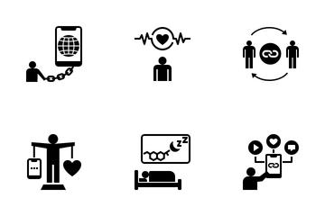 Internet Addiction And Digital Detox Icon Pack